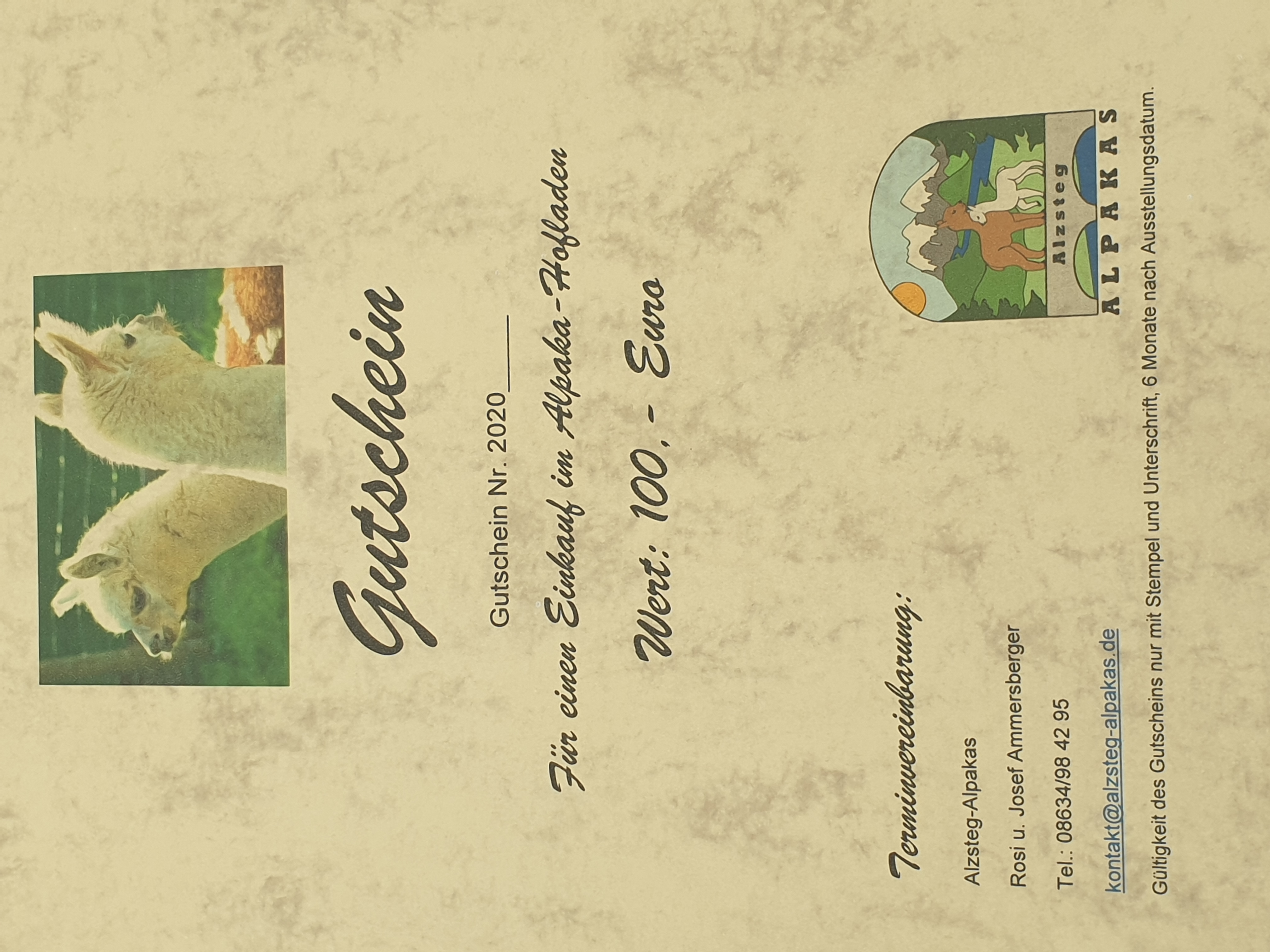 100,--€ Gutschein für einen Einkauf im Alpaka-Hofladen