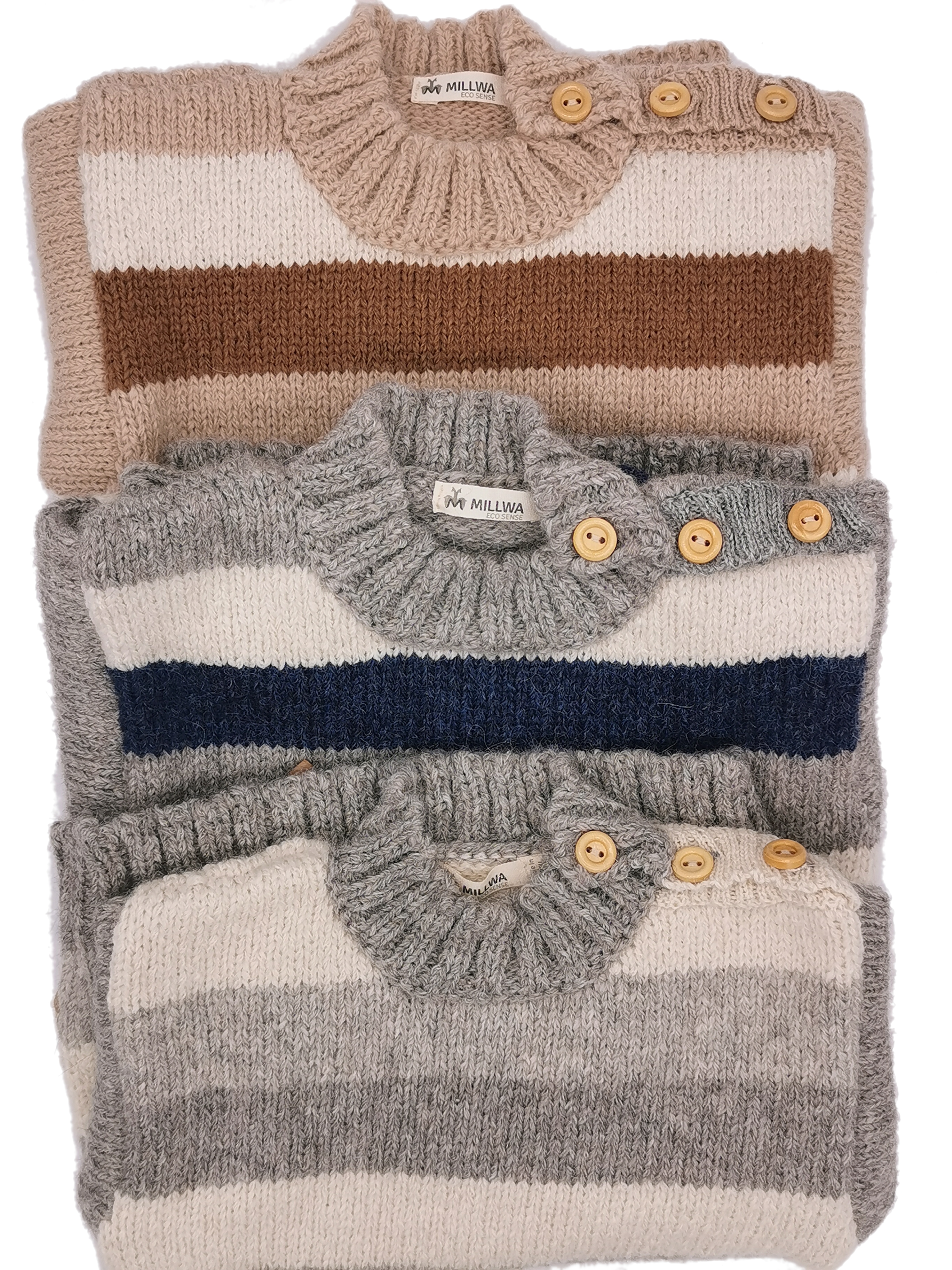 Hochwertige Pullover für Kinder im edlem Blockstreifendesign aus Babyalpakawolle in 3 verschiedenen Farben