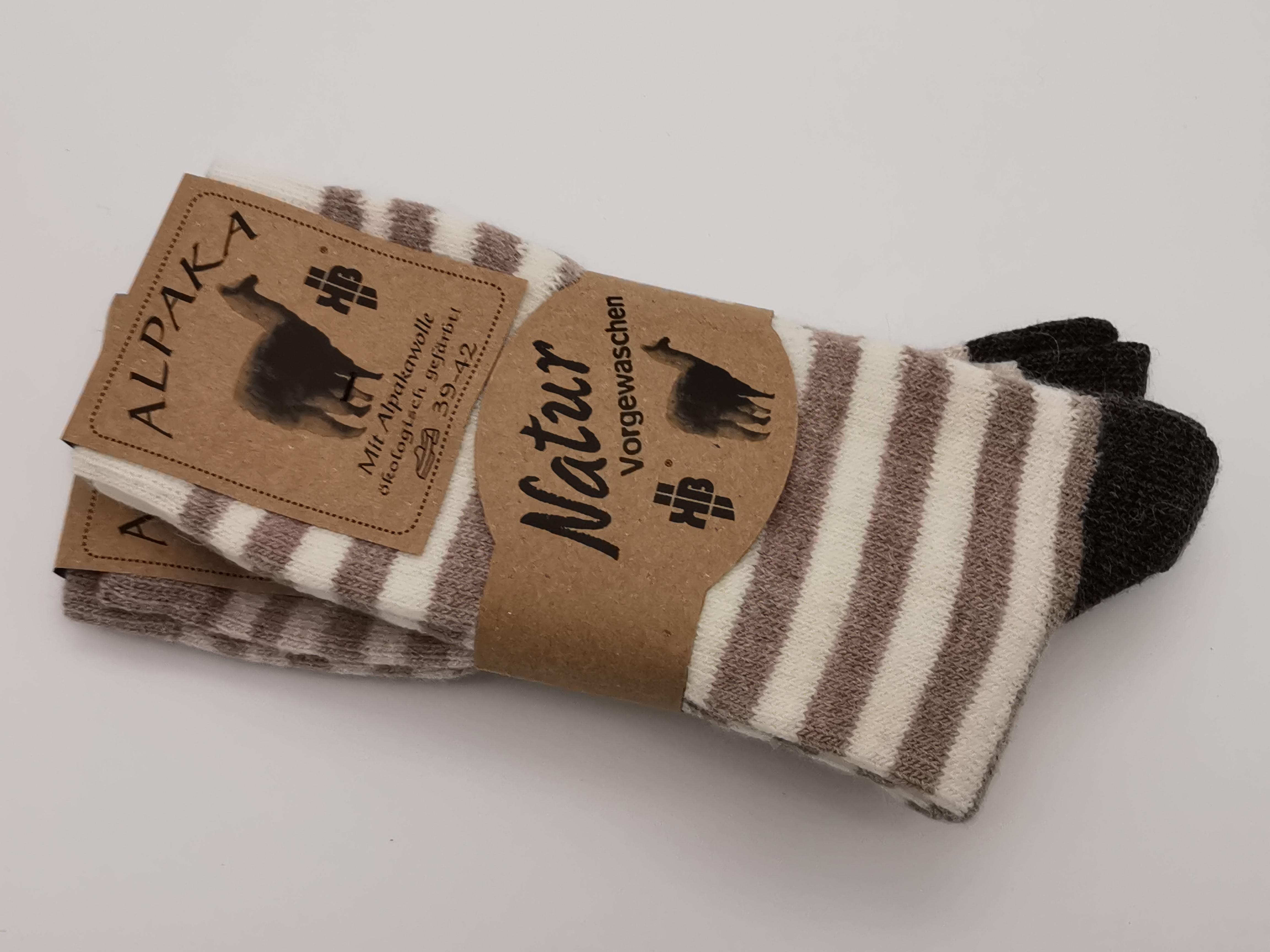 2er Pack Ringel-Socken mit Alpaka