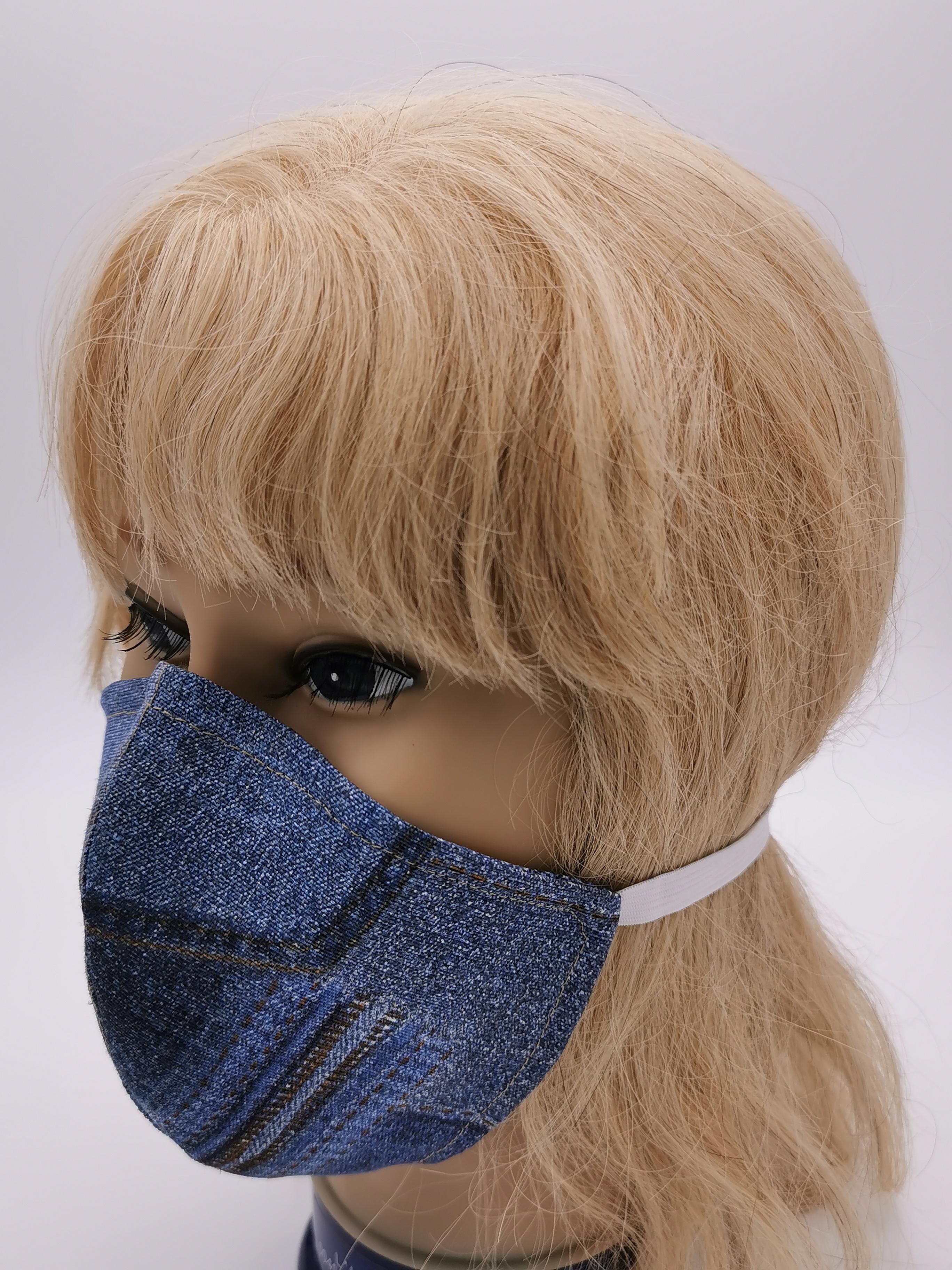 Mund-Maske Behelfsmaske im Jeans Style, Hand-Made von Alzsteg-Alpakas