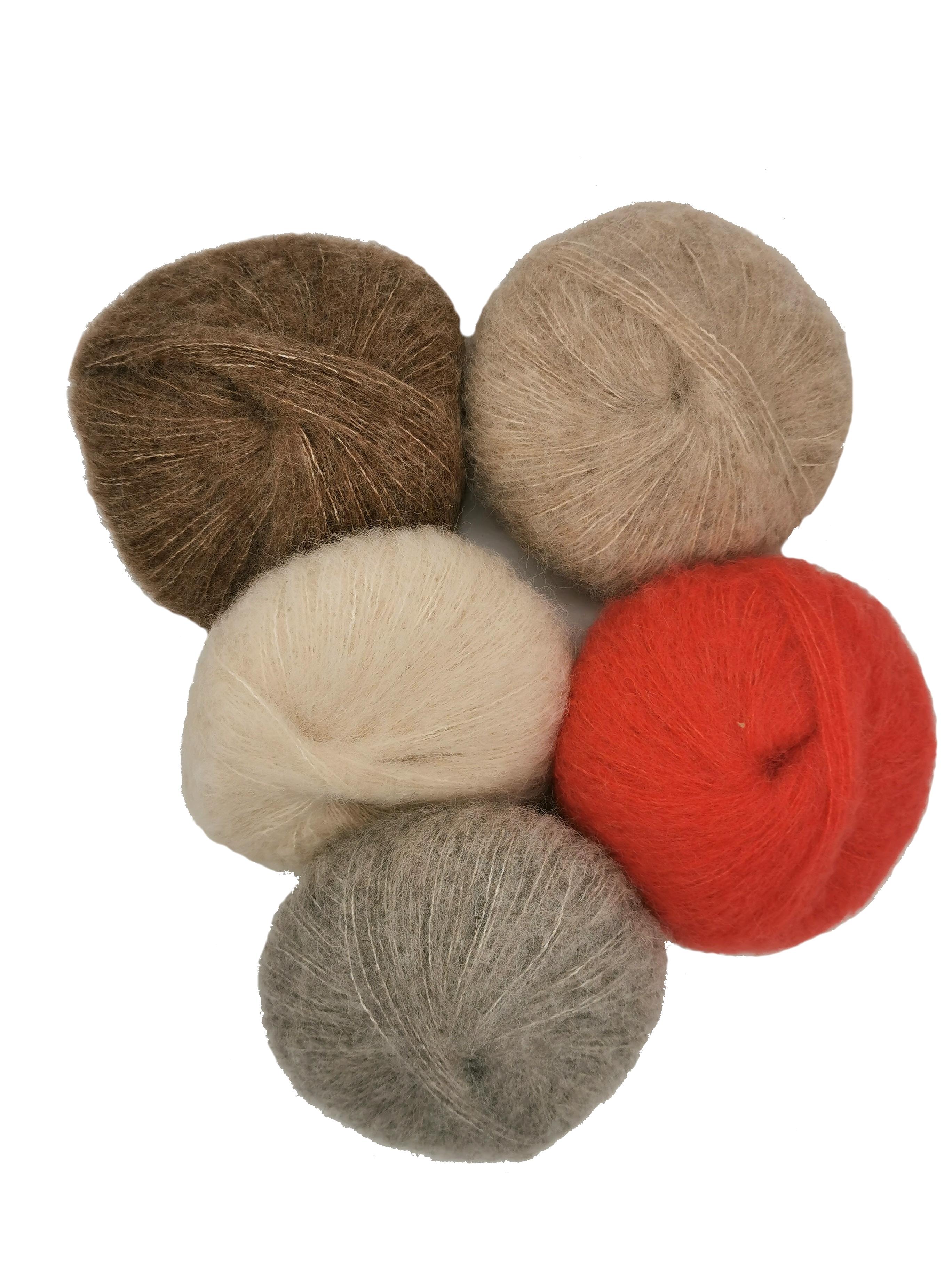 Flauschige Alpaka-Silk-Wolle in vielen verschiedenen Farben